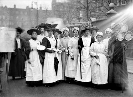 Pottery painters participating in the Pageant of Women's Trades and Professions,-April-1909-at-the-Albert-Hall