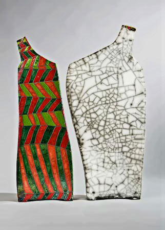 Reversible Afraid two raku bottles by Ute Grossman