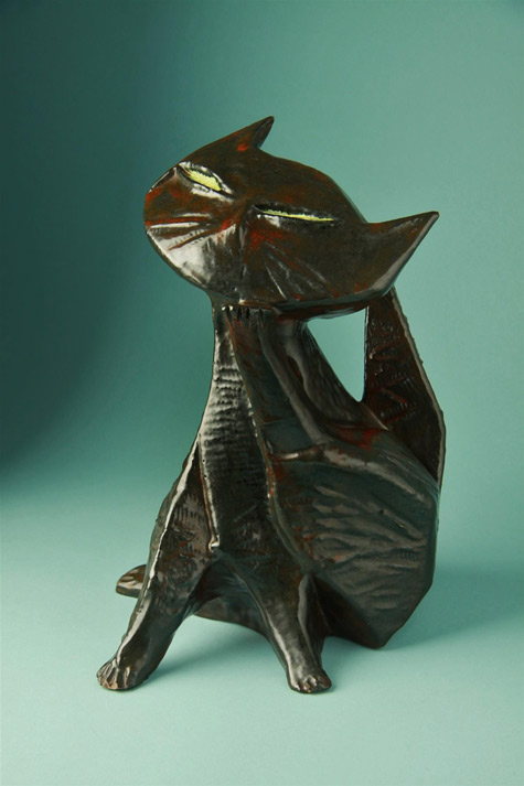 San-Polo,-Ceramic-Cat,-1950s