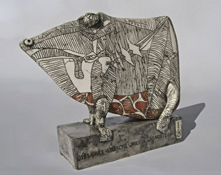 Utes Unke - ceramic abstract animal figure by Ute Grossman