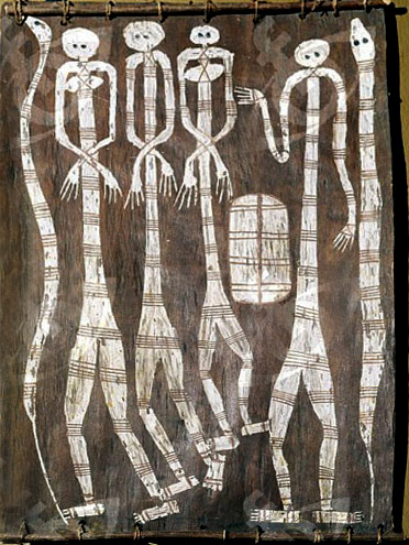 australian-indigenous-bark-painting whits figures on a dark background