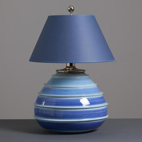 Italian Blue and White Striped Ceramic Lamp 1960s