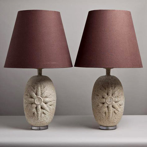 Large Pair of Textured Ceramic Table Lamps