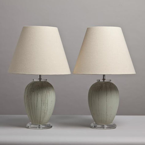 Pair of Green Ceramic Lamps