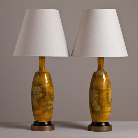 A Rare Pair of Mustard Glazed Table Lamps