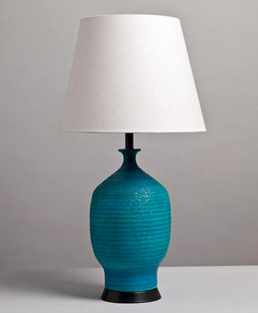 Single Turquoise Ribbed Ceramic Lamp