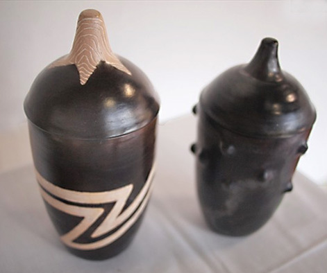 Bukenya-Tony,-2011 Two lidded african vessels