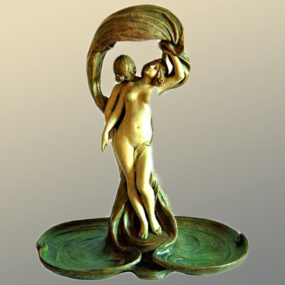 Large figural Art Nouveau Lamp