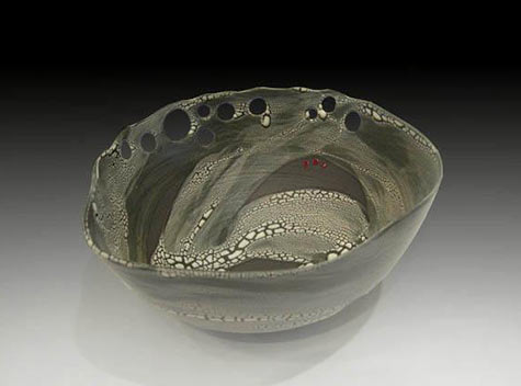Pierced Lichen Bowl with Red