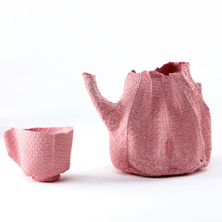 dezeen_Alice-by-by-Rachel-Boxnboim-1Israeli-designer-Rachel-Boxnboim-has-cast-a-ceramic-tea-service-inside-fabric-mould