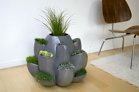 grey hand crafted modern ceramic planters