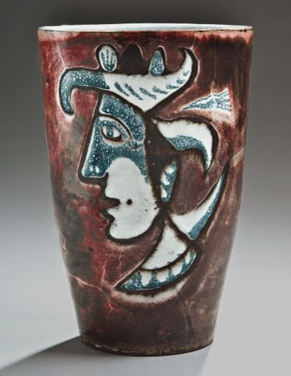 Jean Derval-Vallauris-ceramic vessel with cubist head motif
