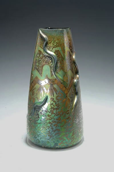 Clement Massier iridescent green glazed vase