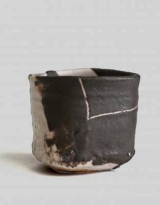 Black oribe style tea bowl