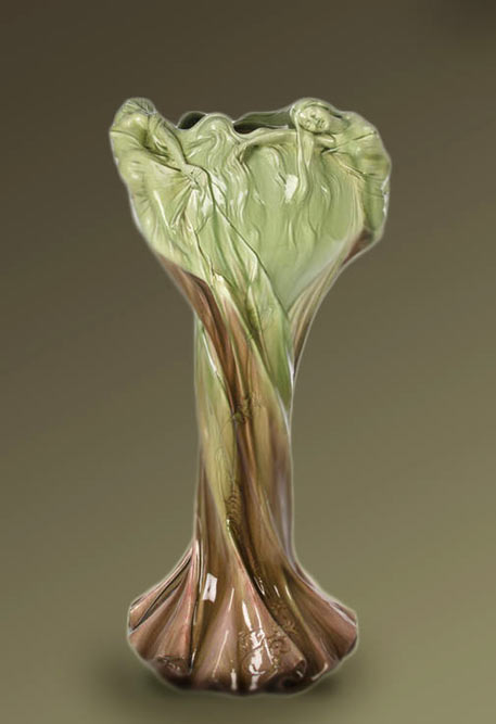 Clement Massier Art Nouveau vase with raised relief females