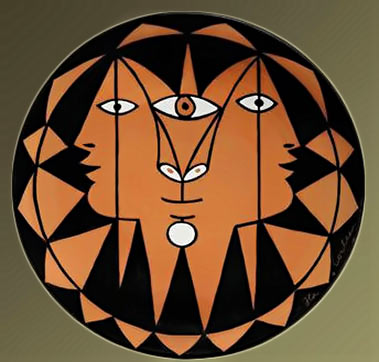 Jean-Cocteau-1889-1963 abstract dish with three head motif