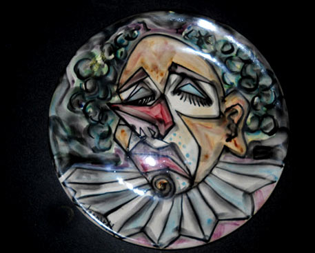 ceramic-plate-CLOWN-face motif and hand-painted