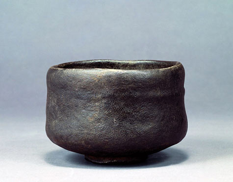 Stoneware tea bowl raku black