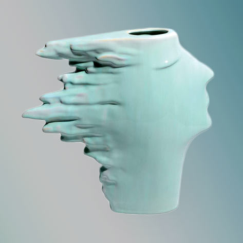 Vase-Vallauris wind in hair contemporary bust