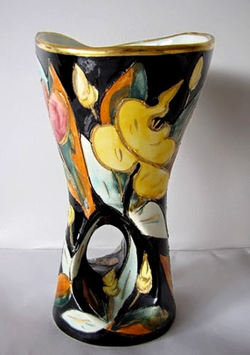 Vallauris-GLAZED-CERAMIC-VASE with floral decoration