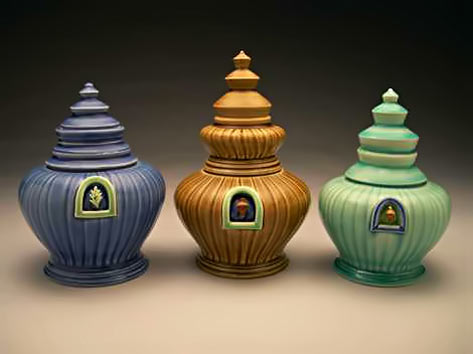 3-Ceramic-Jars with pagoda style lids