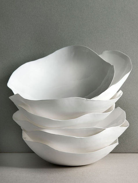 Roos van de Velde ceramic bowls in white