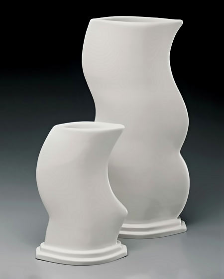 Adrienne Johnson Conway- two white ceramic vases with wavy profiles