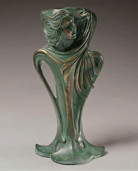 Art Nouveau Patinated Bronze Figural Vase