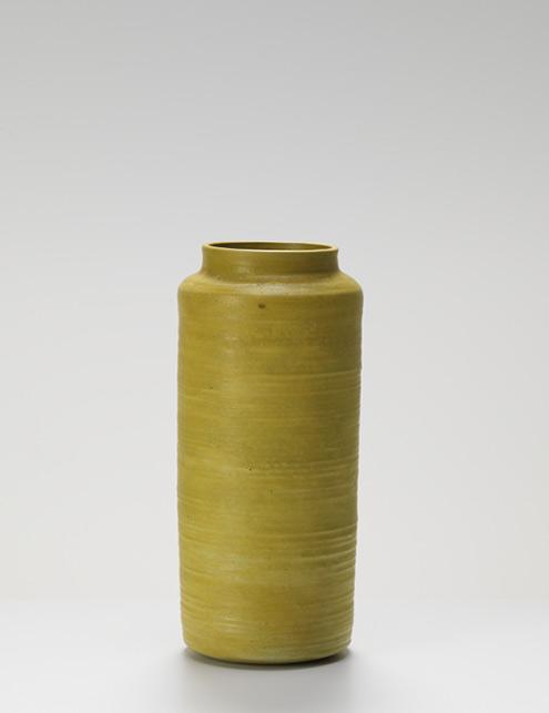 Lucie Rie mustard glaze vase