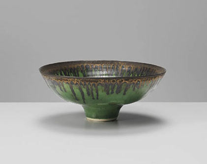Lucie Rie Green Bowl with Brown