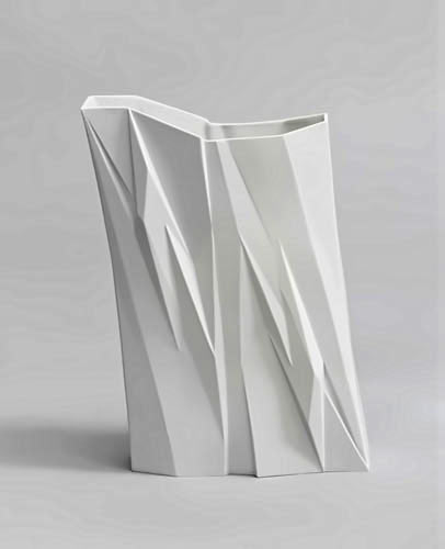 Prism-Bartek-Mejor. faceted white ceramic vase