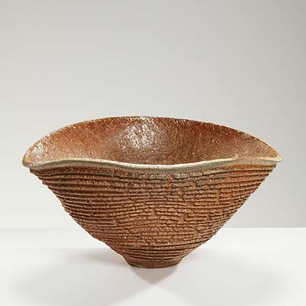 horizontally ribbed bowl, wavy cone shape