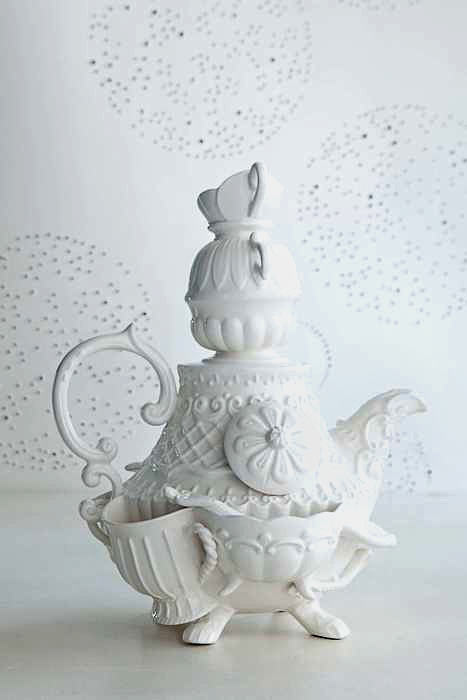 zany white ceramic teapot from anthropologie