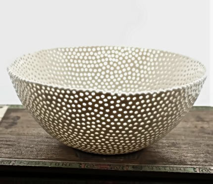 White-Porcelain-Berry-Bowl made by Isabelle Abramson