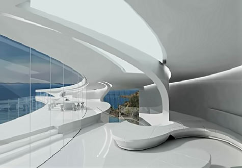 futuristic-white-mahina-house with clean lines and sweeping curves