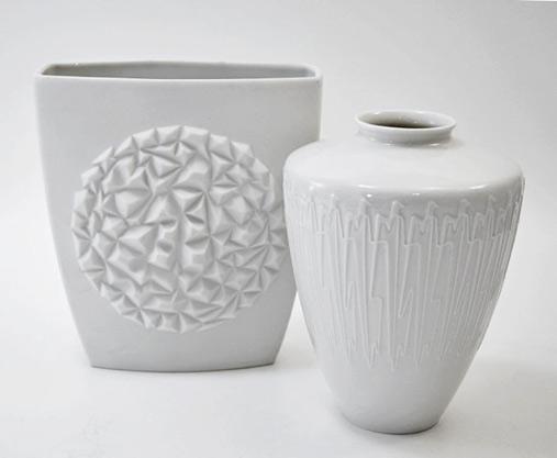 german-60s mid century white porcelain vases