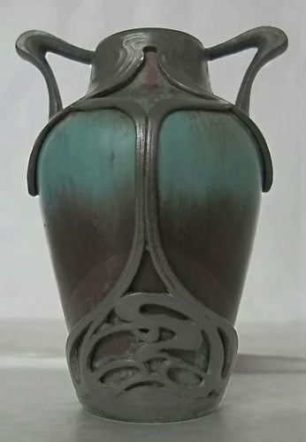1910 teal-and-purplre Bud vase
