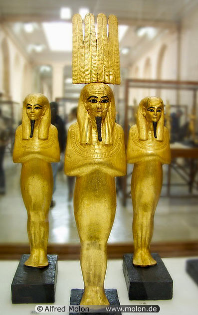 Golden statues of Egyptian Gods