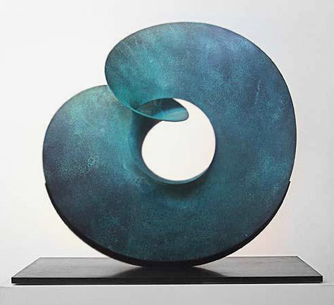 Benjamin Storch - Through the Centre - hand-hammered patinated copper, stone slab