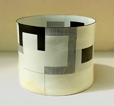 Bodil Manz contemorary ceramics cylindrical vessel with geometric design