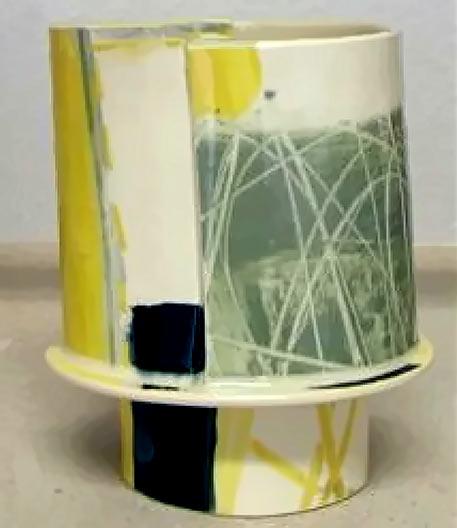 Capriccio Oval Vase - Elke Sada coloured green, yellow, black and white