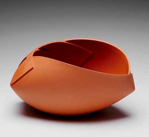 Anna Van Hoey contemporary ceramics orange rust ceramic vessel