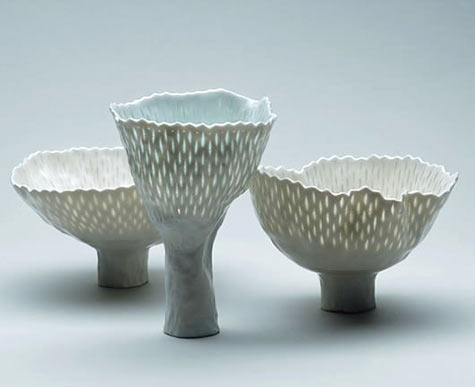 Cornelia-Trösch tall footed vessels with translucent marks on the surface