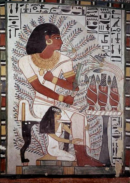 Egyptian wall painting Sennefer seated with wife