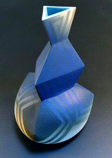 Jonathan Middlemiss blue angular abstract vase