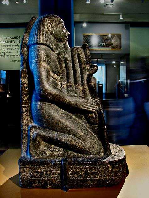 Kneeling black stone Statue of Senenmut