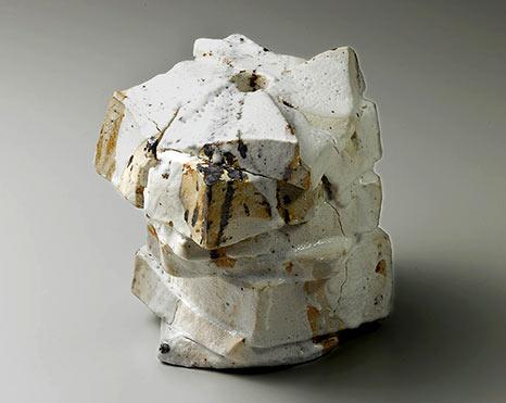 Japanese Shozo Michikawa Shino-square-abstract vessel