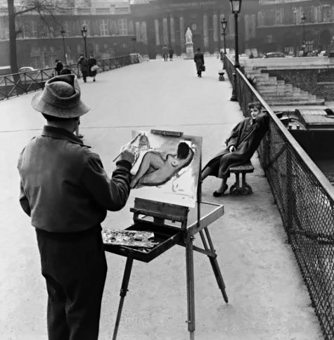 The Painter of the Pont des Arts - photo by Robert Doisneau