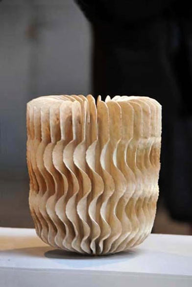 Ursula Morley Price ceramic sculptural vessel with wavy surface