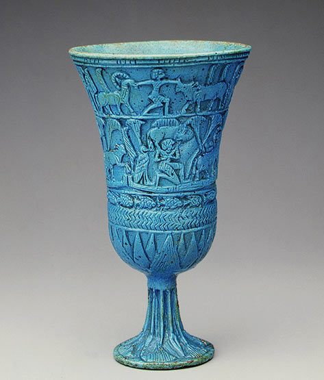 Egyptian Faience Lotiform Cup turquoise blue